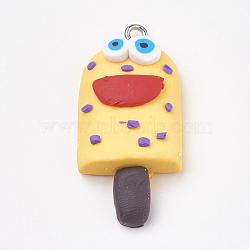 Pendentifs en pâte polymère manuels, avec les accessoires en fer, glace avec sourire, platine, jaune, 34~35x16~17x8~9mm, Trou: 2mm(X-CLAY-T012-23C)