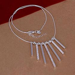 Popular Silver Color Plated Brass Tube Pendant Bib Necklaces, with Snake Chain and Lobster Claw Clasps, 18inches(NJEW-BB12709)