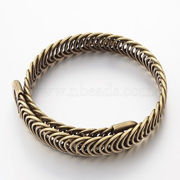 Hollow Iron Stretch Bangles, Antique Bronze, 8-1/4inchesx3/8inchesx1/8inches(210x10x3mm)(MAK-J009-44AB)