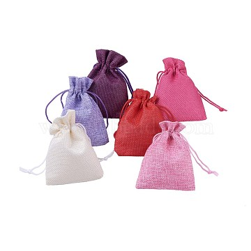 6 Colors Burlap Packing Pouches, Drawstring Bags, Mixed Color, 11.8~12x8.8~9cm; 30pcs/set(ABAG-X0001-9x12-05)
