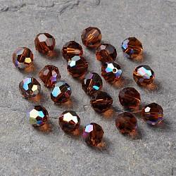 perles de cristal autrichien, 8 mm ronde à facettes, brun, ab, trou: 1 mm(X-5000_8mm220AB)