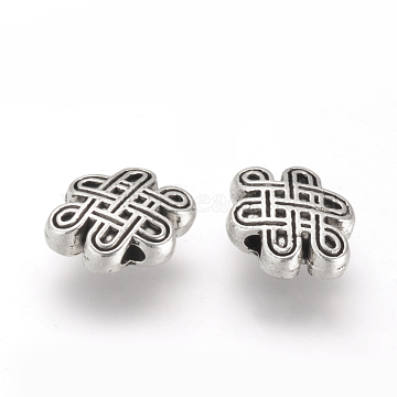 Tibetan Style Alloy Beads, Cadmium Free & Lead Free, Chinese Knot, Antique Silver, 7x10x3.5mm, Hole: 1mm(X-TIBE-Q070-132AS-RS)