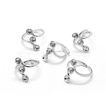 Brass Finger Ring Components, For Half Drilled Beads, Adjustable, Platinum, 17mm(KK-L184-57P)