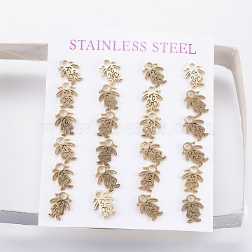 304 Stainless Steel Ear Studs, Girl, Golden, 10x8x1mm; Pin: 0.8mm(X-EJEW-D244-H)