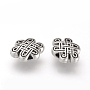 Tibetan Style Alloy Beads, Cadmium Free & Lead Free, Chinese Knot, Antique Silver, 7x10x3.5mm, Hole: 1mm
