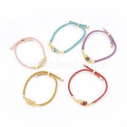bracelets réglables en nylon, bracelets bolo, bracelets de slider, chaînes de boîte, avec maillons en laiton pavés d'oxyde de zirconium et verre, plaqué longue durée, Pi Xiu, réel 24 k plaqué or, couleur mélangée, 9 (23 cm) ~ 9-5 / 8 (24.5 cm); 2~3.5 mm(BJEW-F362-A)