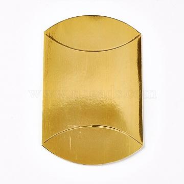 Kraft Paper Wedding Favor Gift Boxes, Pillow, Gold, 9x10.5x3.5cm(X-CON-WH0037-B-06)