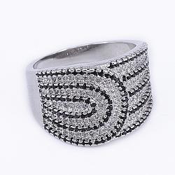 laiton micro pave anneaux de zircons cubiques, anneaux de large bande, platine, 16~19 mm(RJEW-E145-07P)