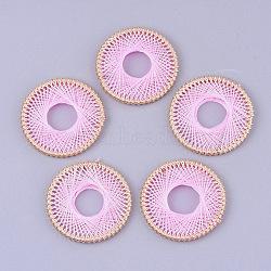 подвески из хлопчатобумажной нити, с железом выводы, плоские круглые, золотой, pearlpink, 35x3 mm, отверстия: 11~13 mm(FIND-S306-07I)