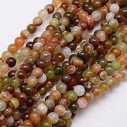 Round Dyed Natural Striped Agate/Banded Agate Beads Strands, Mixed Color, 6mm, Hole: 1mm; about 62pcs/strand, 14.8