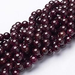 beads brins, rouge grenat, Grade B, arrondir, DarkRed, sur 8 mm de diamètre, trou: 1 mm, environ 47 pcs / brin, 15(X-GSR8mmC087)
