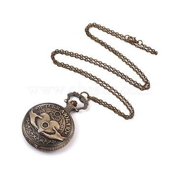 Alloy Pendant Necklace Quartz Pocket Watches, with Iron Chains and Lobster Claw Clasps, Flat Round, Antique Bronze, 32.6 inches(82.8cm)(WACH-L044-08AB)