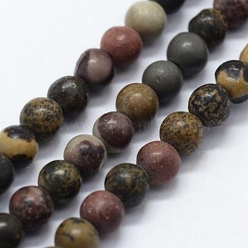 Natural Dendritic Jasper Beads Strands, Chohua Jasper, Round, 4mm, Hole: 0.5mm; about 95pcs/strand,  14.96inches(38cm)(G-I199-20-4mm)