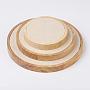 Вуд ювелирные изделия дисплеев, с поддельной замше, плоские круглые, Peachpuff, s: 11x1.8 см; m: 15x1.8 см; l: 19.7x1.8 см; 3 шт / комплект