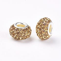 Grade A de résine strass perles européennes, perles de rondelle avec grand trou , avec ame en laiton de couleur argent, Light Colorado Topaz, 12x8mm, Trou: 4mm(X-CPDL-H001-12x9mm-13)