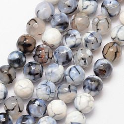 Natural Dragon Veins Agate Bead Strands, Round, Grade A, Faceted, Dyed & Heated, White, 10mm, Hole: 1mm; about 37pcs/strand, 15inches
