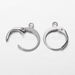 304 Stainless Steel Leverback Earring Findings, with Loop, Stainless Steel Color, 14.5x12x2mm, Hole: 1mm(STAS-G140-72P)