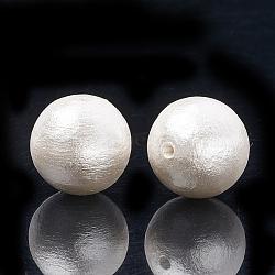 сжатые хлопковые жемчужные бусы, экологическая, окрашенный, вокруг, белый, 16~16.5 mm, отверстия: 1.5 mm(X-WOVE-S114-16mm-13)