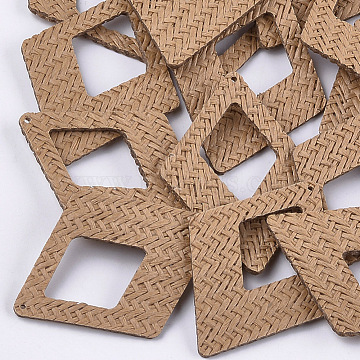 Handmade Straw Woven Big Pendants, Rhombus, Peru, 65x47.5x2.5mm, Hole: 1.2mm(X-WOVE-S119-12C)