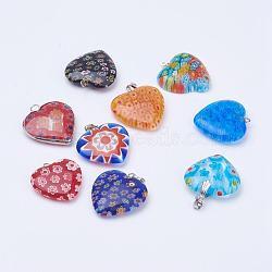 Perles en verre de millefiori manuelles, avec les accessoires en fer, cœur, platine, couleur mixte, 24~29.5x23~25x6~7mm, Trou: 1.5~3.5x1.5~5mm(LK-XCP0000-01)