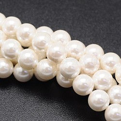 Shell Pearl Beads Strands, Round, White, 6mm, Hole: 1mm; about 69pcs/strand, 16inches(BSHE-E008-6mm-12)