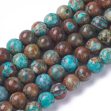 Natural Ocean Jasper Beads Strands, Dyed & Heated, Round, 8mm, Hole: 1.2mm, about 47pcs/strand, 15.3~15.5 inches(39~39.4cm)(X-G-F648-03-C)