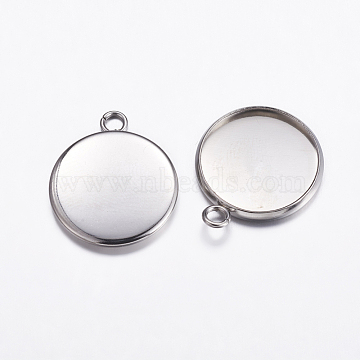 304 Stainless Steel Pendant Cabochon Settings, Plain Edge Bezel Cups, Flat Round, Stainless Steel Color, Tray: 16mm; 21.5x18x2mm, Hole: 2.2mm(X-STAS-K146-054-16mm)