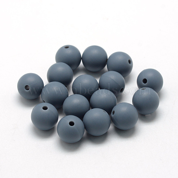 Food Grade Environmental Silicone Beads, Chewing Beads For Teethers, DIY Nursing Necklaces Making, Round, Slate Gray, 12mm, Hole: 2mm(X-SIL-R008B-15)