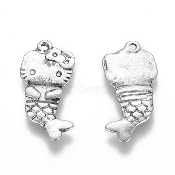 Tibetan Style Pendants, Lead Free and Cadmium Free, Fish, Antique Silver, about 32.5mm long, 15.5mm wide, 4.5mm thick, hole: 1mm(X-LF8373Y)