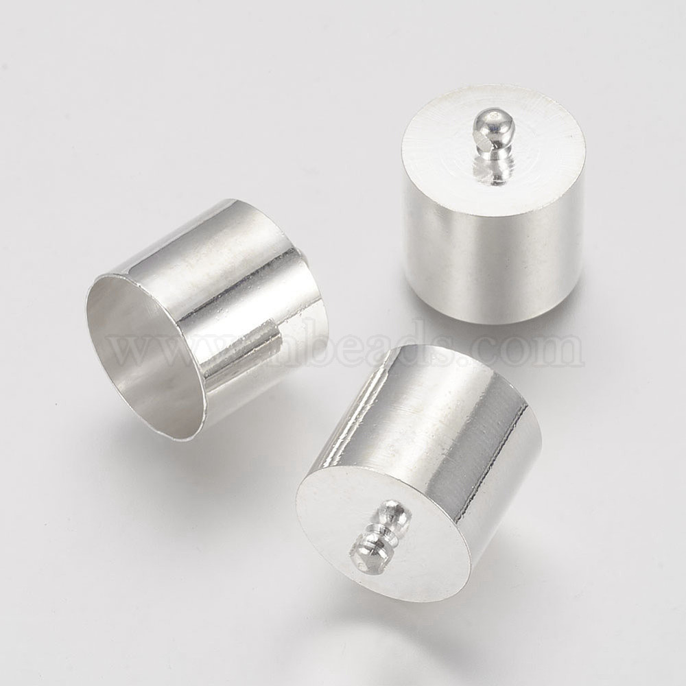 Silver Plated Brass End Cap-Cord End-Connector-12x8mm.