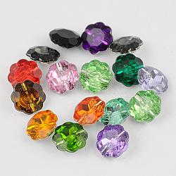 taiwan boutons en strass acrylique, facettes, 1-trou, fleur, couleur mélangée, 13x6 mm, trou: 1 mm(X-BUTT-F021-13mm-M)