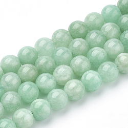 "Chapelets de perles naturelles de jade du Myanmar/jade de Birmanie, rond, 8mm, trou: 1mm; environ 48 pcs/chapelet, 15.3""(X-G-T064-22-8mm)"