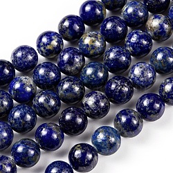Natural Lapis Lazuli Round Beads Strands, 10mm, Hole: 1mm; about 38pcs/strand, 15.5 inches