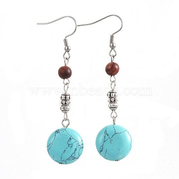 Synthetic Turquoise Dangle Earrings, with Natural Sandalwood and Alloy Beads, 304 Stainless Steel Earring Hooks, Flat Round, 65mm, Pin: 0.7mm(X-EJEW-JE02976-04)