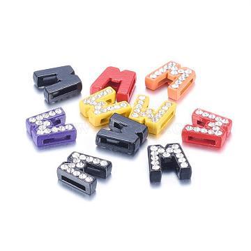 Breloques coulissantes d'alphabet avec strass , Perles de lettre en alliage, lettre w pour le bricolage fabrication de bracelets, couleur mixte, environ 12 mm de large, Longueur 12mm, épaisseur de 4.5mm, Trou: 7x1mm(ZP14-W)