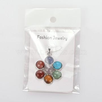 Platinum Flower Mixed Stone Pendants
