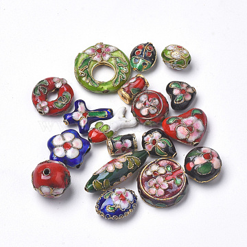 Handmade Cloisonne Beads, Mixed Shape, Mixed Color, 9~27x7~23x5~13mm, Hole: 1mm(CLB-S006-15)