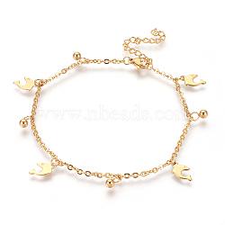 """Bracelets de cheville en 304 acier inoxydable avec pendentif, dauphin et rond, or, 9-1/4"""" (23.5cm); 2mm(AJEW-O028-03G)"""