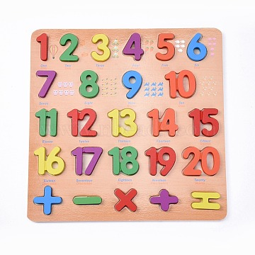 Wooden Children DIY Building Blocks, for Learning and Education Toys, Number, Mixed Color, 30x30x1.25cm; 25pcs/set(DIY-L018-22)