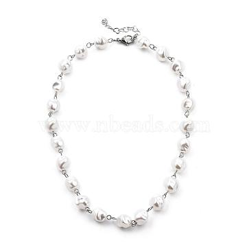 White Plastic Imitation Pearl Beaded Necklaces, with 304 Stainless Steel Lobster Claw Clasps and Heart Link Chains, Stainless Steel Color, 18.3 inches(46.5cm), 6mm(NJEW-JN03059-01)