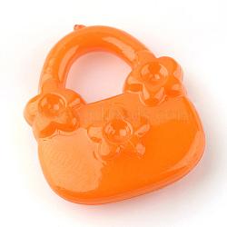 Supports de strass pendentif acrylique, sac à main, orange foncé, 20x17x5mm, trou: 7 mm; apte à 2 mm strass(X-SACR-Q143-C21)