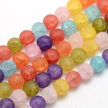 Frosted Synthetic Crackle Quartz Round Beads Strands, Dyed & Heated, Mixed Color, 10mm, Hole: 1mm; about 43pcs/strand, 16.17inches(G-L155-10mm-04)