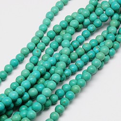 """1 rondes brin synthétique turquoise perles brins, teint, lightseagreen, 8mm, trou: 1mm; environ 50 pcs/chapelet, 15.35""""(X-TURQ-G106-8mm-02D)"""