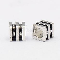 Perles de laiton de cube, sans nickel, argent antique, 4x4x4mm, Trou: 2mm(X-KK-P008-28-NF)
