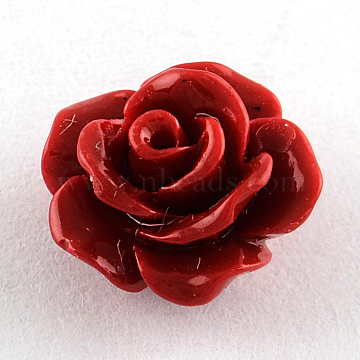 Dyed Flower Synthetical Coral Beads, FireBrick, 10x7mm, Hole: 1mm(X-CORA-R011-28D)