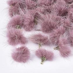Décorations pendentif pompon fourrure, avec les accessoires en alliage, Or antique, palevioletred, 20~30x28~30mm, Trou: 1.8mm(X-FIND-S300-37R)