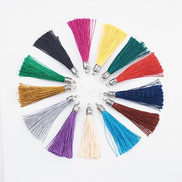 Nylon Tassels Big Pendant Decorations, with Antique Silver Alloy Findings, Mixed Color, 55~67x7mm, Hole: 2mm(X-STAS-F142-07)