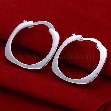 Elegant Fashion Brass Hoop Earrings, Silver Color Plated, 20mm(EJEW-BB09674)
