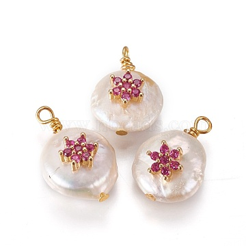 Natural Cultured Freshwater Pearl Pendants, with Cubic Zirconia and Brass Findings, Flat Round with Flower, Golden, Fuchsia, 17~18x12~14mm, Hole: 1.6mm(X-PEAR-I005-10A)