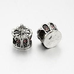 Perles européennes en alliage plaqué argent antique avec strass, grosses perles de la couronne de trous, rose clair, 13x12mm, Trou: 5mm(CPDL-J030-27AS)